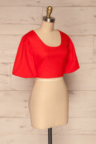 Rydzyna Red Short-Sleeved Crop Top | La petite garçonne side view