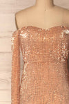 Ryn Champagne Bronze Sequin Bustier Mermaid Gown | La Petite Garçonne front close-up