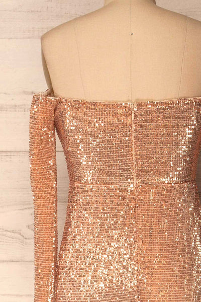 Ryn Champagne Bronze Sequin Bustier Mermaid Gown | La Petite Garçonne back close-up