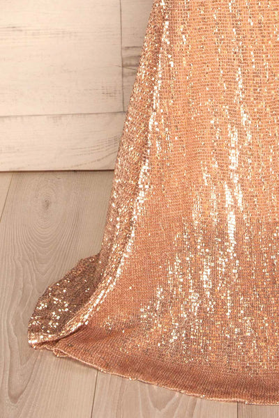Ryn Champagne Bronze Sequin Bustier Mermaid Gown | La Petite Garçonne bottom close-up