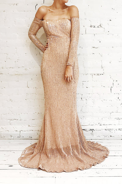 Ryn Champagne Bronze Sequin Bustier Mermaid Gown | La Petite Garçonne on model