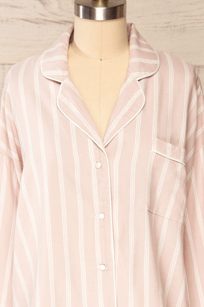 Set Diubesland Pink Ligned Pyjama Set | La petite garçonne front close up top