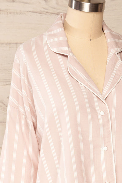Set Diubesland Pink Ligned Pyjama Set | La petite garçonne  side close up top