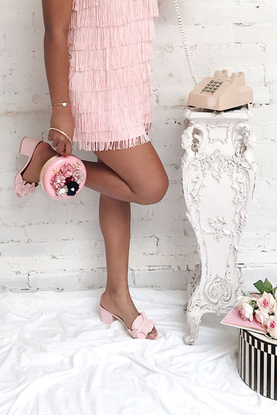 Borda Pétale Pink High Heel Slip-on Sandals | Boutique 1861 on model