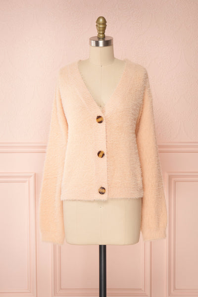 Sakura Light Pink V-Neck Button-Up Cardigan | Boutique 1861 front view