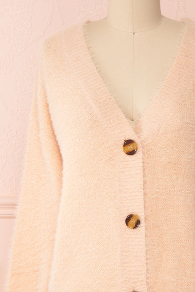 Sakura Light Pink V-Neck Button-Up Cardigan | Boutique 1861 front close-up