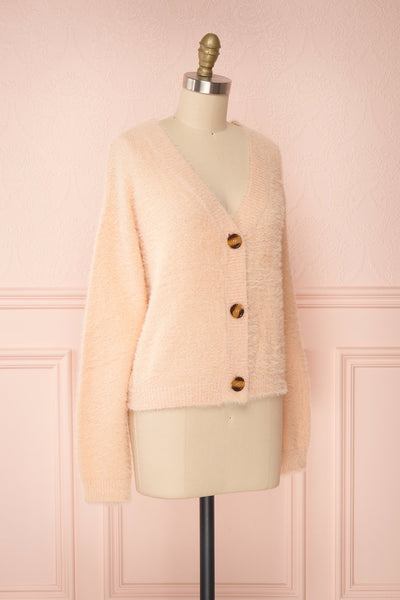 Sakura Light Pink V-Neck Button-Up Cardigan | Boutique 1861 side view