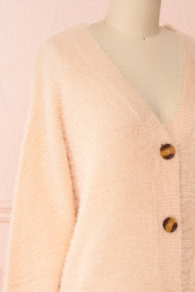Sakura Light Pink V-Neck Button-Up Cardigan | Boutique 1861 side close-up