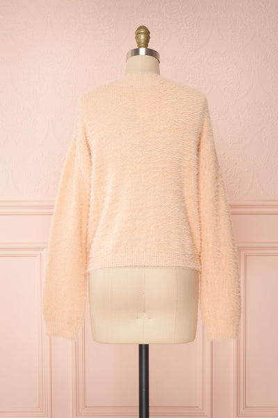 Sakura Light Pink V-Neck Button-Up Cardigan | Boutique 1861 back view