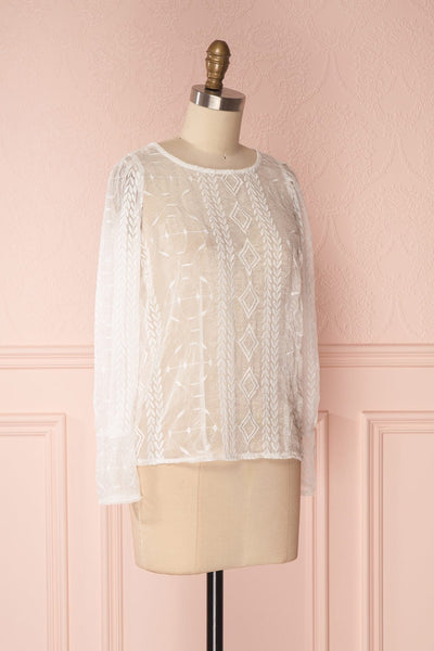 Sakuzo White Transparent Long Sleeve Embroidery Top | Boutique 1861