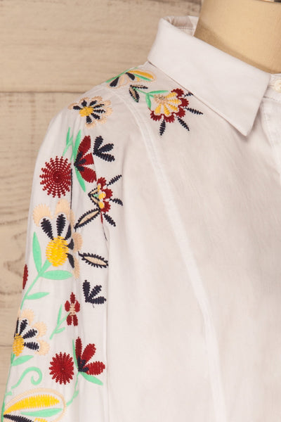 Salci Mini Kids White Dress Shirt with Embroidery | La Petite Garçonne