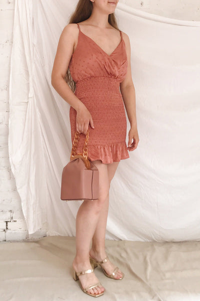 Salonie Pink Silky Dotted Short Dress | Boutique 1861 model look