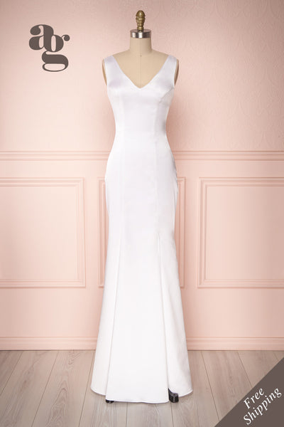 Sami Ivory Silky Mermaid Gown with Slit | Boudoir 1861