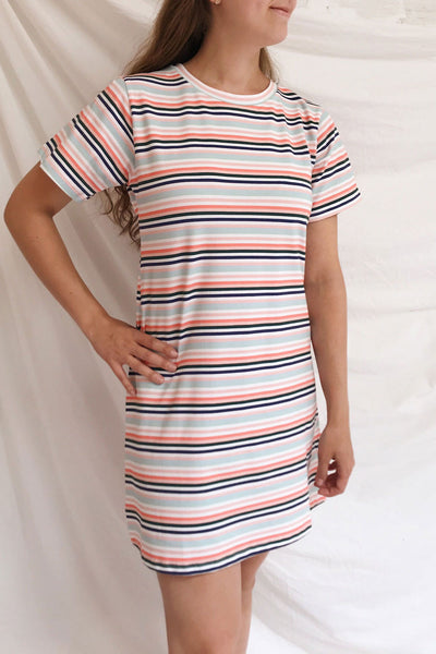 Sammia Striped T-Shirt Dress | La petite garçonne on model