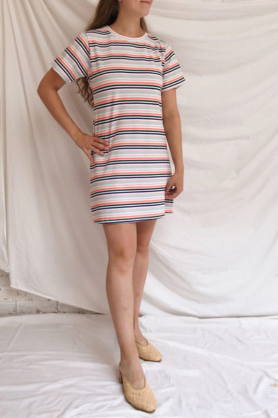 Sammia Striped T-Shirt Dress | La petite garçonne model look