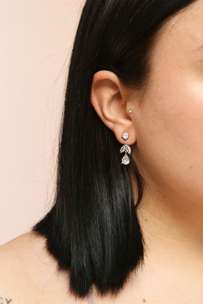 Sampita Silver Sparkling Pendant Earrings | Boutique 1861 on model
