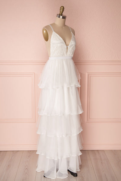Sanetomi White Maxi Dress with Layered Chiffon Skirt | Boudoir 1861