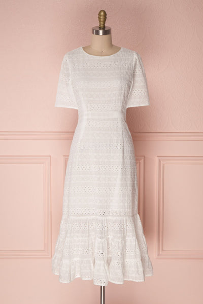 Sanisha Pastoral White Openwork Lace Midi Dress | Boutique 1861