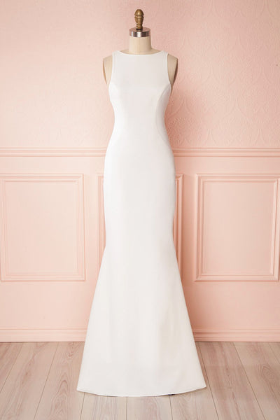 Sanya Ivory Mermaid Gown with Open V Back & Train | Boudoir 1861
