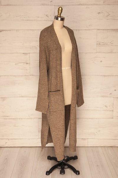 Saracena Taupe Knit Long Cardigan | La Petite Garçonne side view