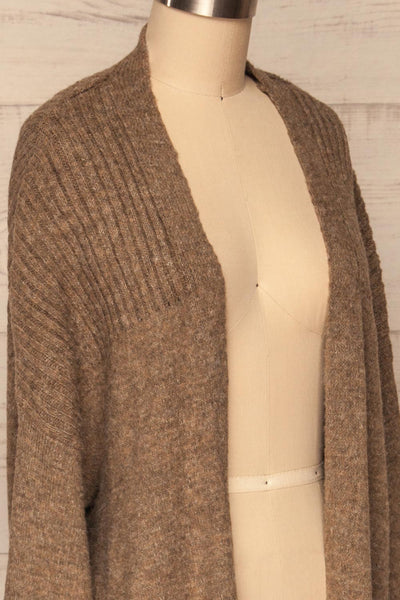 Saracena Taupe Knit Long Cardigan | La Petite Garçonne side close-up