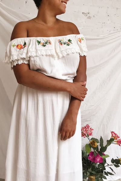 Sarai Cloud White Off-Shoulder Midi Dress | Boutique 1861 on model
