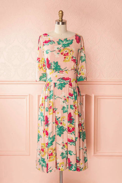 Sarakawa Pink Floral Retro A-Line Cocktail Dress | Boutique 1861