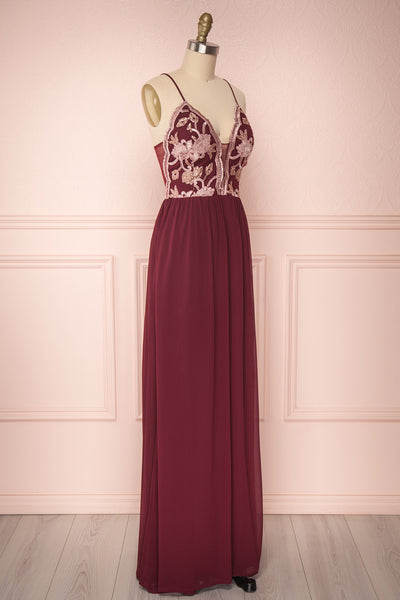 Sarakym Wine | Red Chiffon Gown