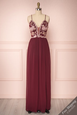 Sarakym Wine Red Chiffon Gown with Gold Appliqués | Boutique 1861