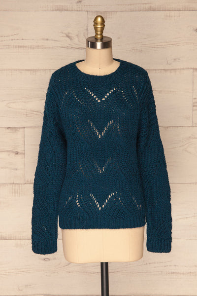 Saratov Midnight Blue Knit Sweater | La Petite Garçonne front view