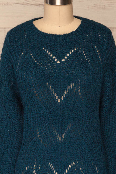 Saratov Midnight Blue Knit Sweater | La Petite Garçonne front close-up