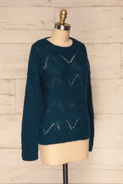 Saratov Midnight Blue Knit Sweater | La Petite Garçonne side view
