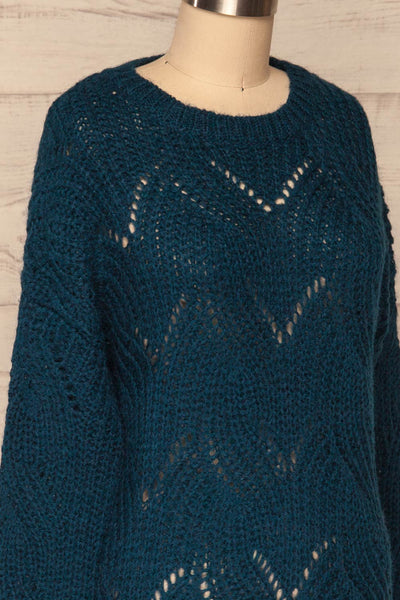 Saratov Midnight Blue Knit Sweater | La Petite Garçonne side close-up