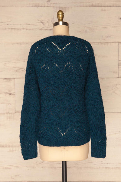 Saratov Midnight Blue Knit Sweater | La Petite Garçonne back view
