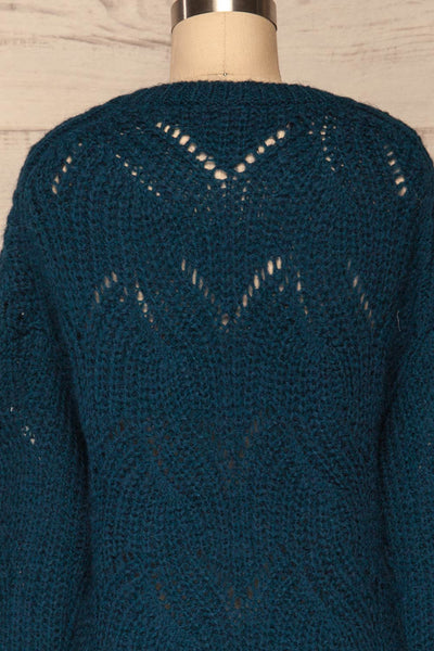 Saratov Midnight Blue Knit Sweater | La Petite Garçonne back close-up