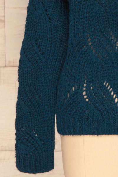 Saratov Midnight Blue Knit Sweater | La Petite Garçonne bottom close-up