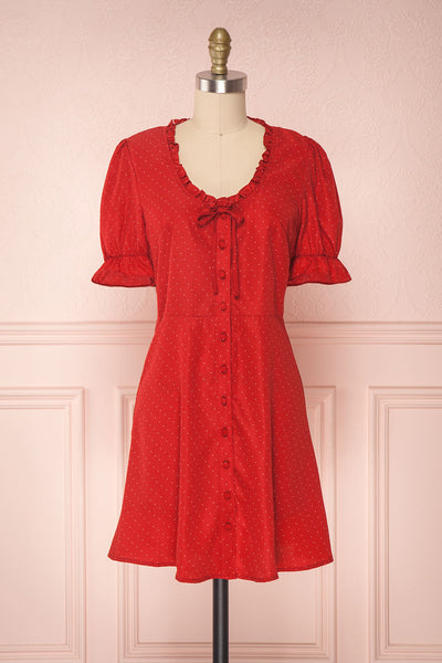 Saravana Red Polkadot Short A-Line Dress | Boutique 1861