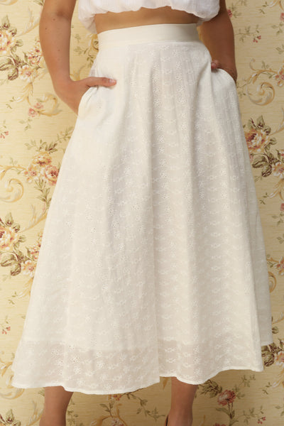 Sarika White Floral Openwork A-Line Skirt | Boutique 1861 10