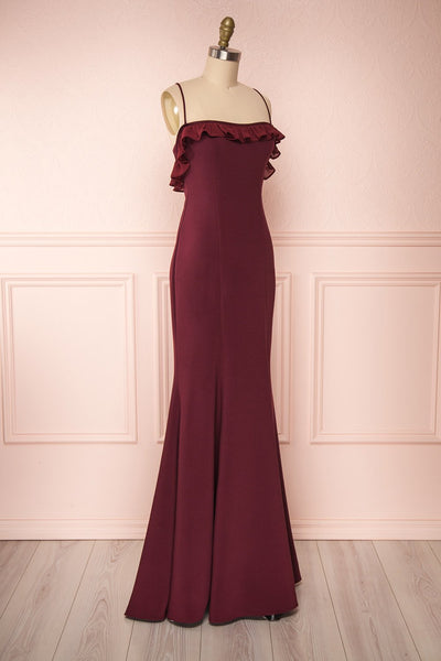 Sasha Burgundy Mermaid Maxi Dress | Robe side view | Boudoir 1861