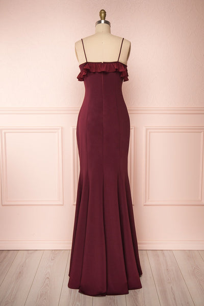 Sasha Burgundy Mermaid Maxi Dress | Robe back view | Boudoir 1861
