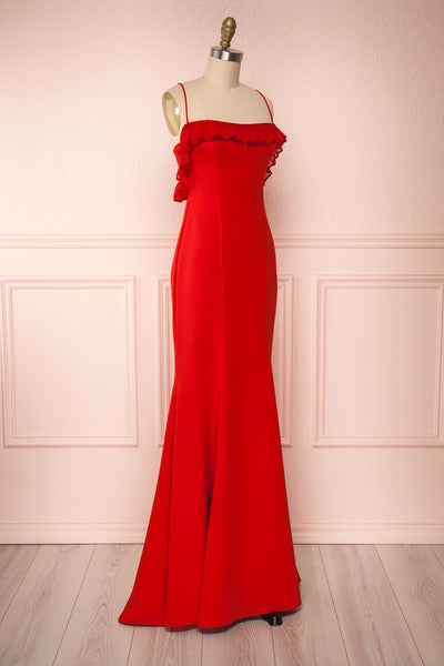 Sasha Red Mermaid Maxi Dress | Robe side view | Boudoir 1861
