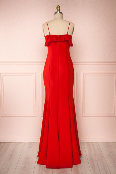 Sasha Red Mermaid Maxi Dress | Robe back view | Boudoir 1861