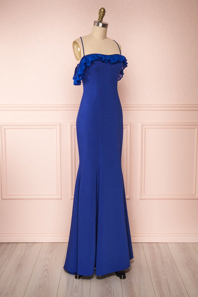 Sasha Royal Blue Mermaid Maxi Dress side view | Boudoir 1861