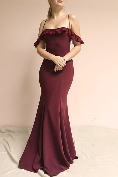 Sasha Burgundy Mermaid Maxi Dress | Robe photo full | Boudoir 1861