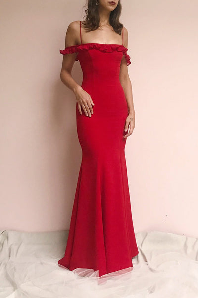 Sasha Red Mermaid Maxi Bridesmaid Dress | Boudoir 1861 on model