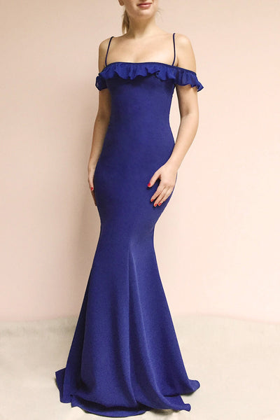 Sasha Royal Blue Mermaid Maxi Dress | Boudoir 1861 on model