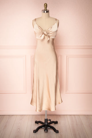 Sashiko Gold Beige Satin Midi Slip Dress | Boutique 1861