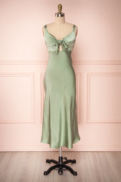 Sashiko Perido Olive Green Satin Midi Slip Dress | Boutique 1861