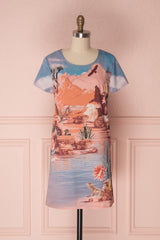 Sasilvia Colourful Desert Scene Print Tunic Dress | Boutique 1861