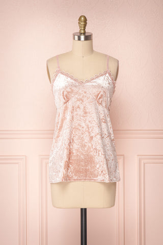 Satsu Pink Velvet Camisole with Lace Trim | Boutique 1861
